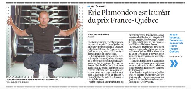 Prix France Québec Plamondon